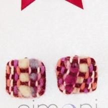 Square tweed earrings