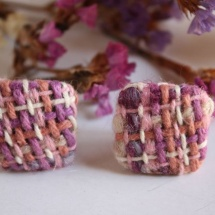 Square woven earrings 2