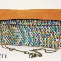 Tweed folded bag with Camel leather