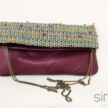 Tweed folded bag with Purple leather
