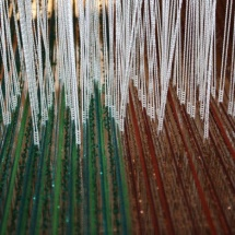 Weaving process: Green and Copper fabric