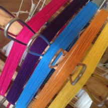 Weaving samples: rainbow fabric