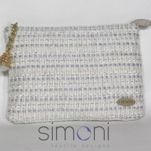 White and Silver Tweed mini purse with pearl