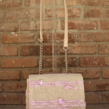 Woven, Beige, Pink and White Shoulder bag