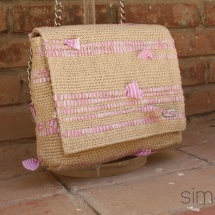 Woven, Beige, Pink and White Shoulder bag detail
