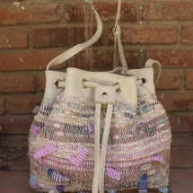 Woven Beige, Pink and White Shoulder bag with Beige leather