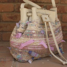 Woven Beige, Pink and White Shoulder bag with Beige leather detail