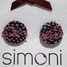 Woven Pink and Black earrings
