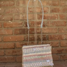 Woven Strippy Shoulder bag with Blue leather