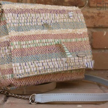 Woven Strippy Shoulder bag with Blue leather detail