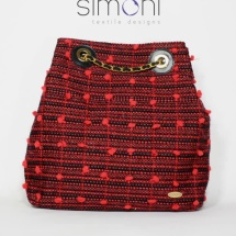 Woven Tweed Black and Red Backpack