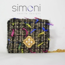 Woven Tweed Mini Shoulder bag in Black and Gold