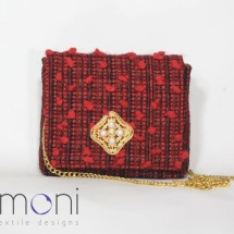 Woven Tweed Mini Shoulder bag in Black and Red