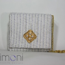 Woven Tweed Mini Shoulder bag in White and Gold