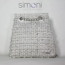Woven Tweed White and Silver Backpack