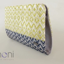 Woven bag in lime and blue