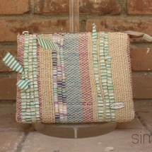 Woven beauty textural bag : purse
