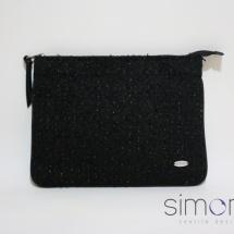 Woven black zip clutch