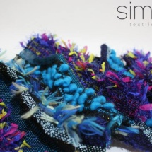 Woven blue and black shawl: detail