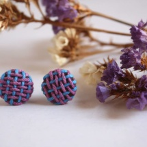 Woven blue and purple earrings