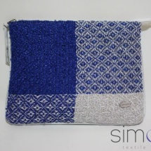 Woven blue and silver zip clutch