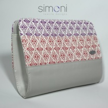 Woven clutch in purple and coral