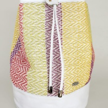 Woven, colorful duffel bag