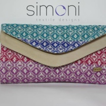 Woven double like clutch with patterns and leather