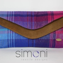 Woven double like clutch with suede tan leather
