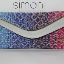 Woven double like clutch with white leather