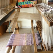 Woven fabric ready to be rolled on the loom