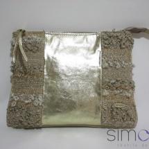 Woven gold zip clutch