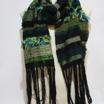 Woven green and black shawl