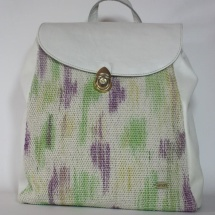 Woven hand dyed backpack with white leather
