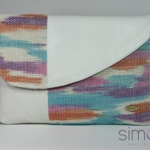 Woven hand dyed clutch with white leather 2