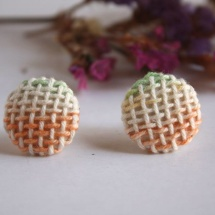 Woven hand dyed earrings in green and orange