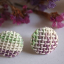 Woven hand dyed earrings in green and purple
