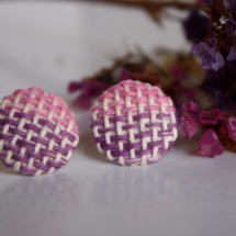 Woven hand dyed earrings in pink and purple