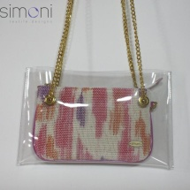 Woven hand dyed mini purse with fuchsia handles