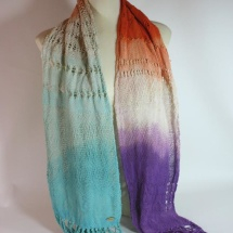 Woven hand dyed shawl in blue orange white and purple