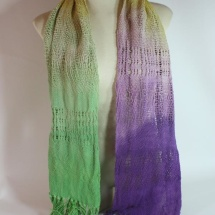 Woven hand dyed shawl in yellow green purple and white