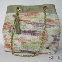Woven hand dyed shoulder bag with beige leather