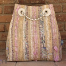 Woven, handmade Backpack in Pastel colours