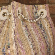 Woven, handmade Backpack in Pastel colours detail