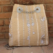 Woven, handmade Backpack in blue, green, beige and white