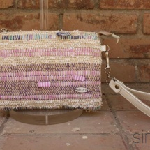 Woven, handmade purse with beige leather handle