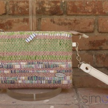 Woven, handmade purse with leather handle