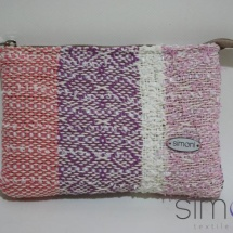 Woven mini purse in Pink, White and Purple