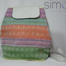 Woven multi-color backpack and leather