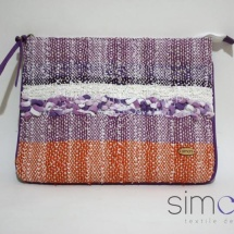 Woven orange and purple zip clutch